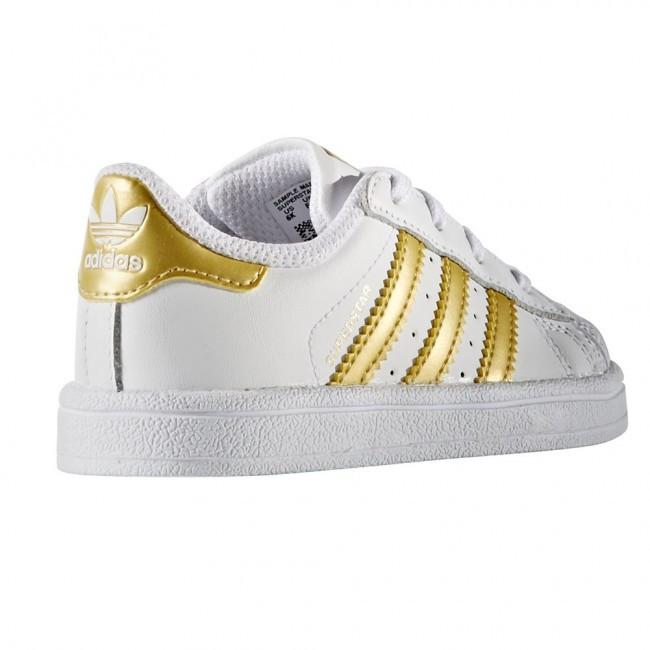 adidas superstar wit met gouden strepen