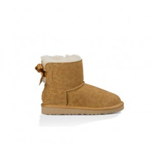 UGG Australia Kids Midi Bailey Bow Metallic Confiner Boot - Chestnut