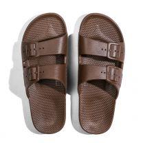 Waterbestendige, milieuvriendelijke Freedom Moses slippers chocobruin voor kinderen, dames en heren
