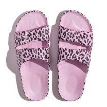 Waterbestendige, milieuvriendelijke Freedom Moses Leo Parma slippers, lichtpaars met zwart printje