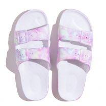 Waterbestendige, milieuvriendelijke Freedom Moses Unicorn slippers met kleurenprint