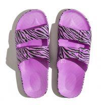Waterbestendige, milieuvriendelijke Freedom Moses Zebra Ultra slippers paars met zwart printje voor meisjes en dames
